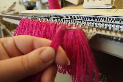 """""""Yesterday Charlie taught a few of us how to create loopy or tassels on a knit machine. """"  sew she says: February 2012"""