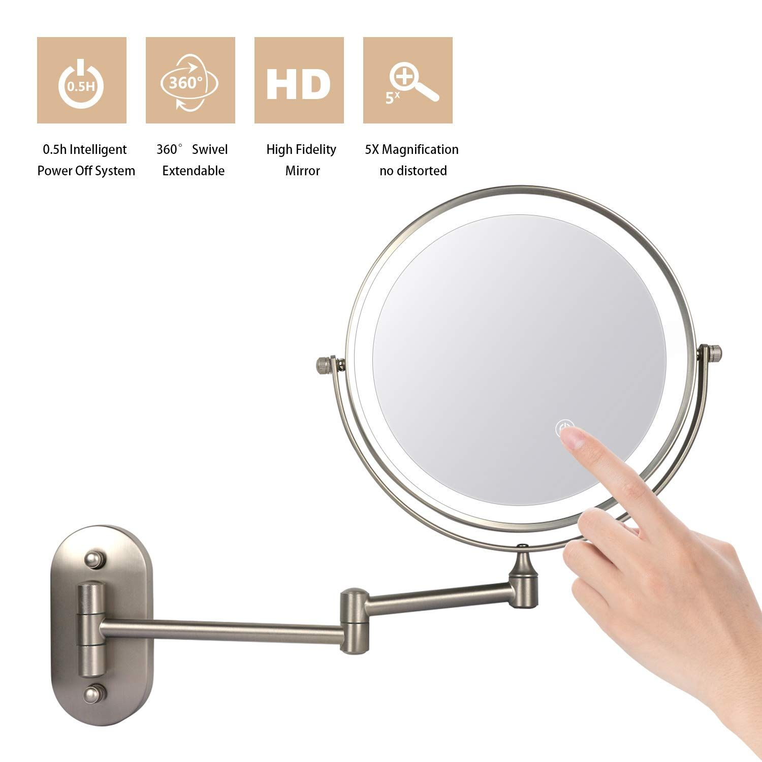 Zephbra Wall Mounted Makeup Mirror 8 Led Touch Screen Adjustable Light Double Sided 1x 5x Magnifying Van In 2020 Wall Mounted Makeup Mirror Mirror Adjustable Lighting