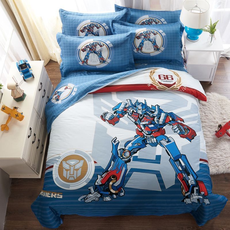 Transformers Bedding Sets Twin Queen King Size Blue