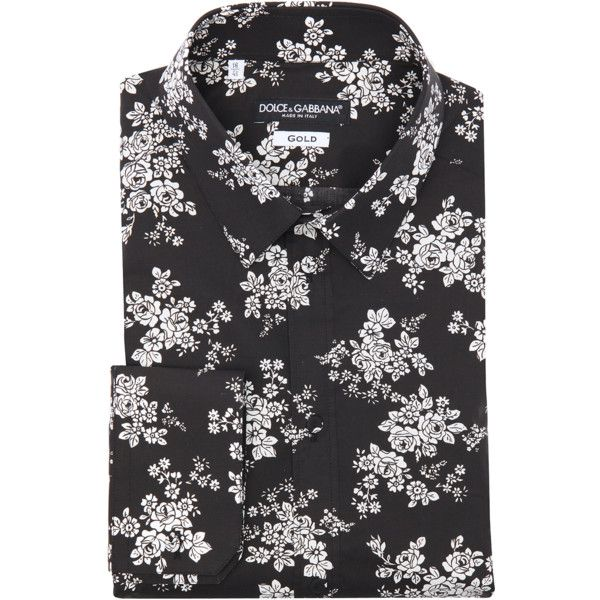Dolce & Gabbana Black And White Floral Print Cotton 'gold' Point ...