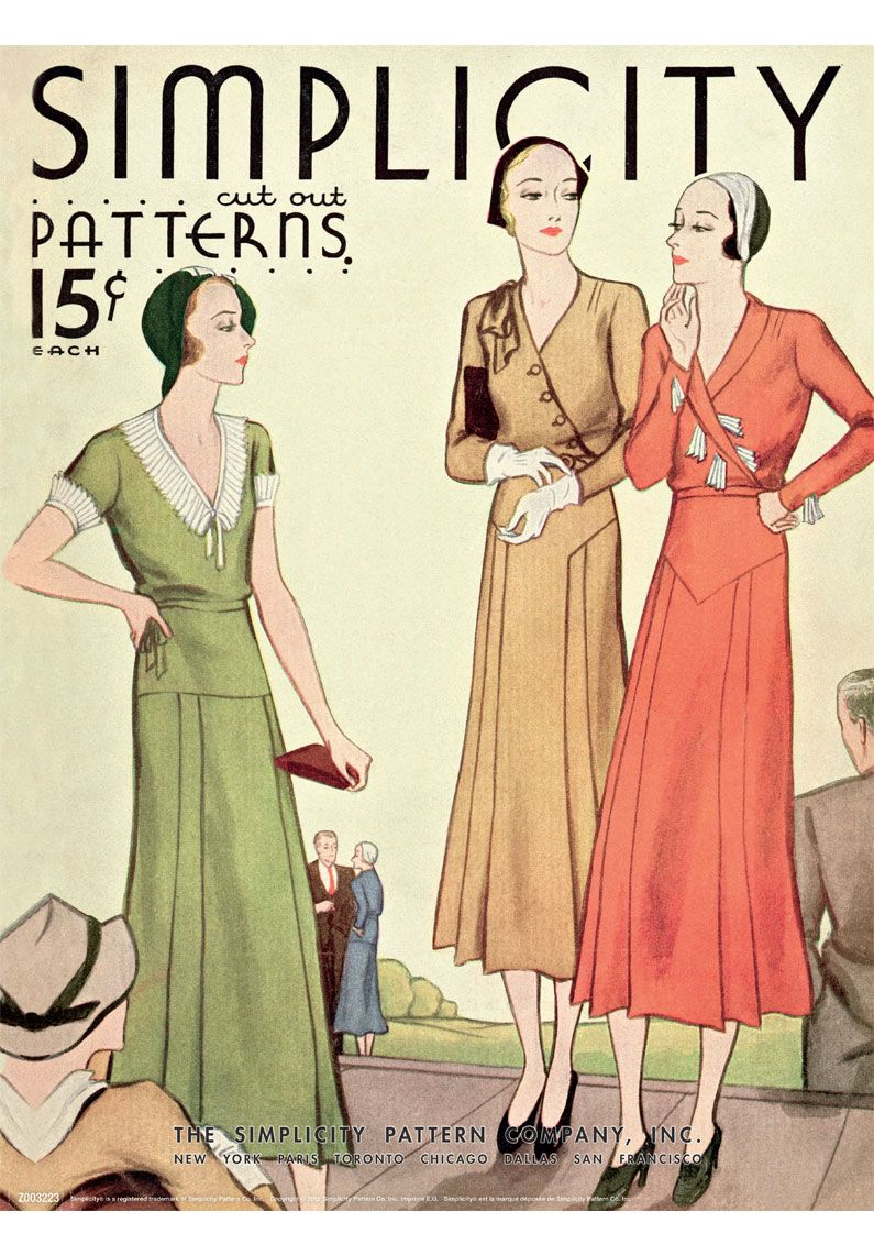 Z003223 Simplicity Poster Vintage 1920 S Simplicity Collectors Edition Poster Features An Authe Vintage Outfits Great Gatsby Dresses Vintage Sewing Patterns