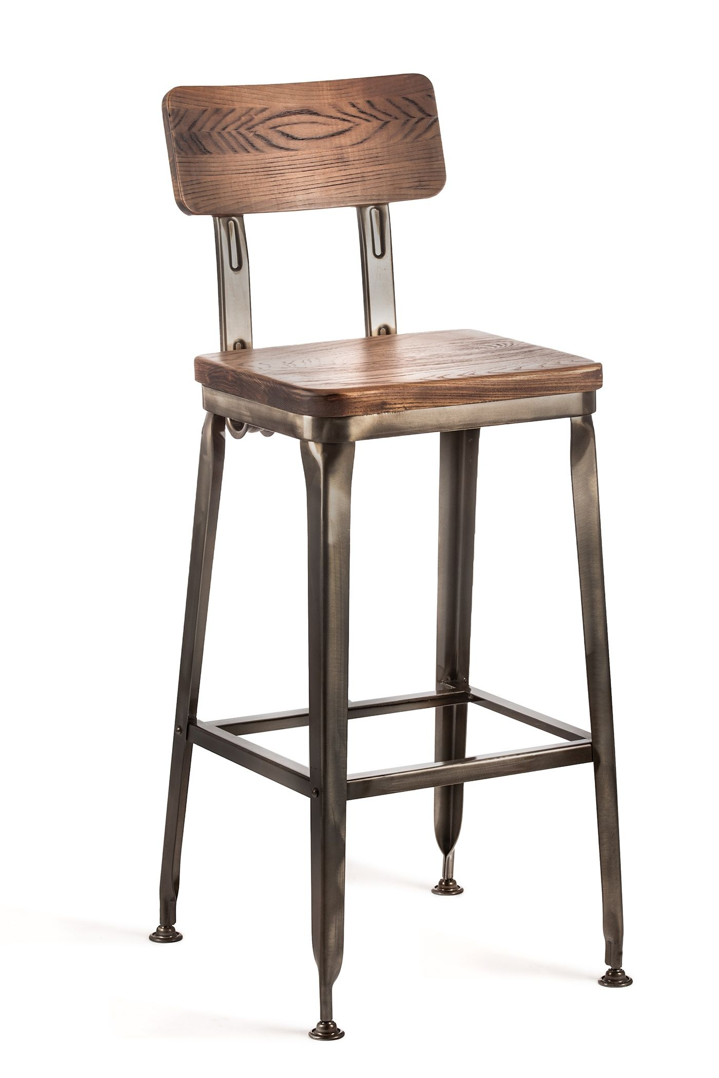 Octane Bar Stool With A Wood Seat Gunmetal With Wood Seat