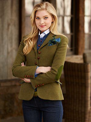 Womens green tweed blazer with elbow patches