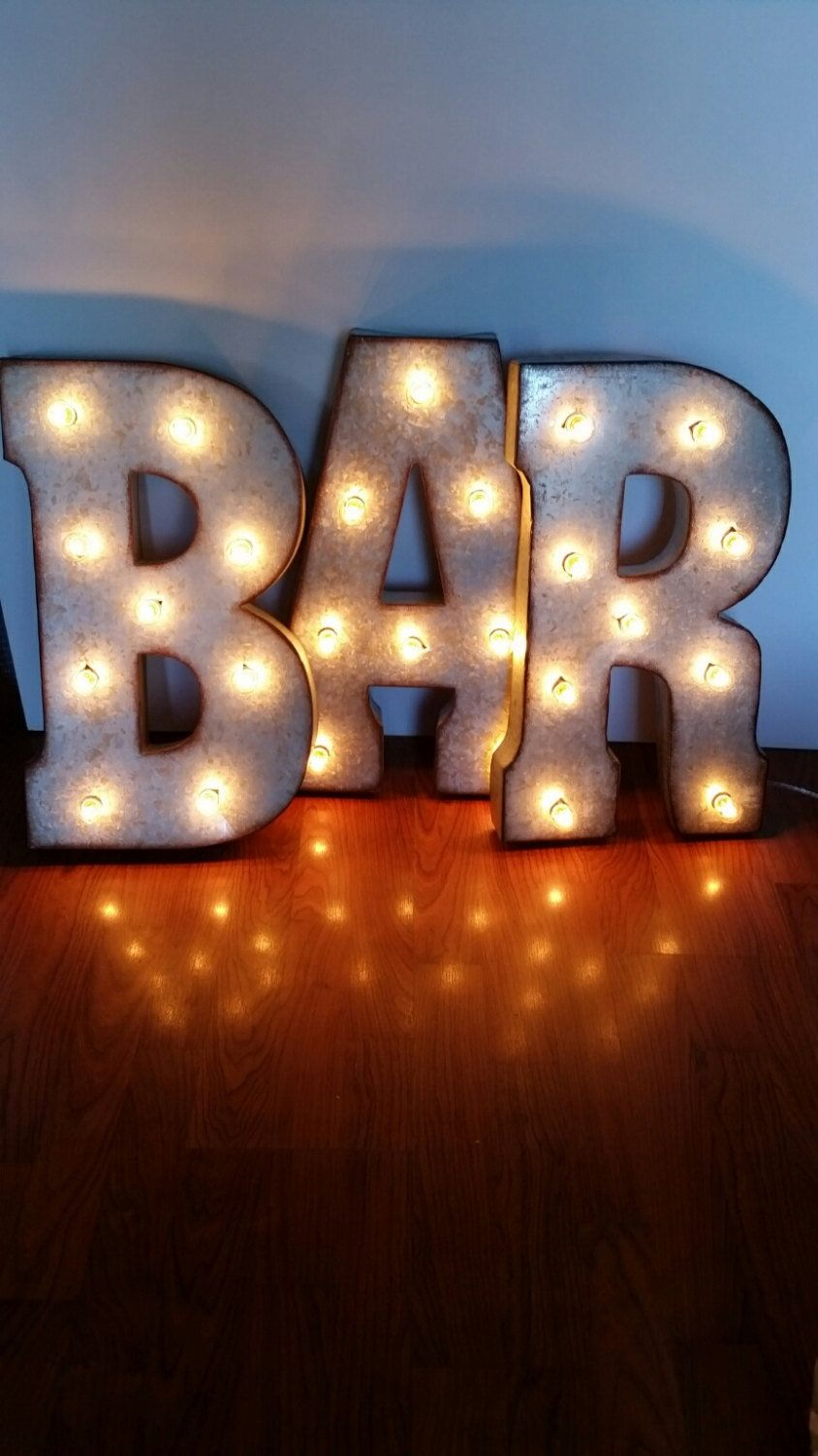 21 Bar Large Metal Marquee Light Up Bulb Letters Sign Marquee Lights Large Metal Letters Light Up Letters