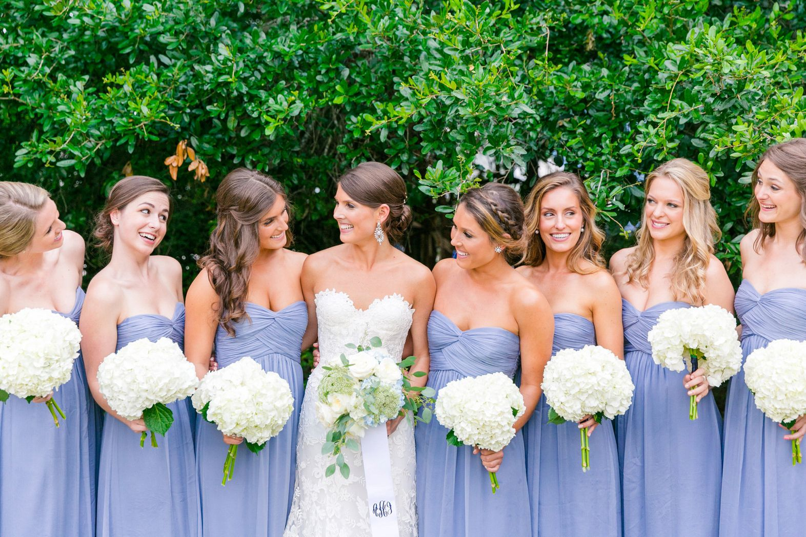 French Blue Cornflower Periwinkle Bridesmaid Dresses With Hydrangeas Queen Anne S Lace Garden Roses Summer White Island House Wedding By