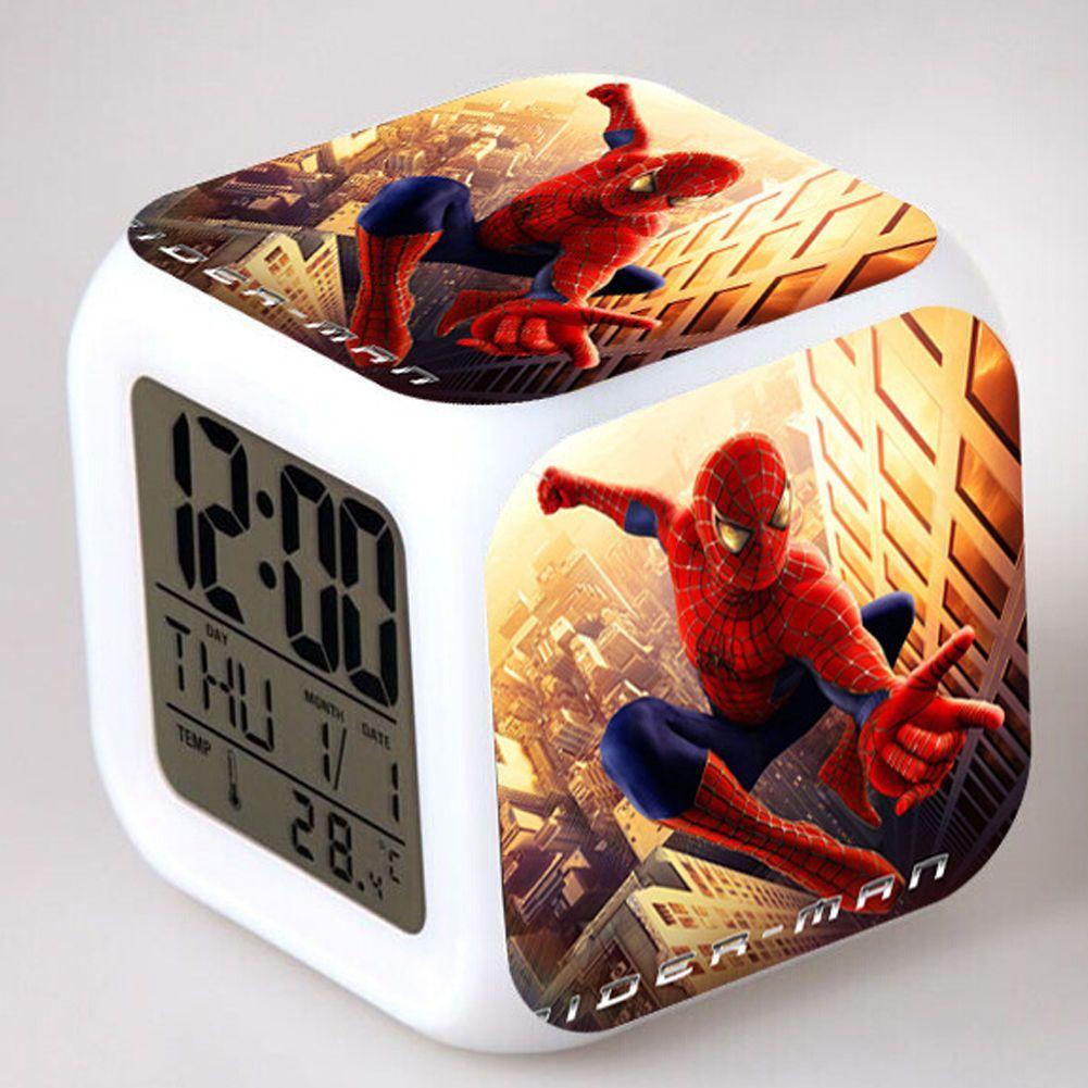 Spiderman 7 Color Changing Led Digital Alarm Clocks Christmas Gift ...