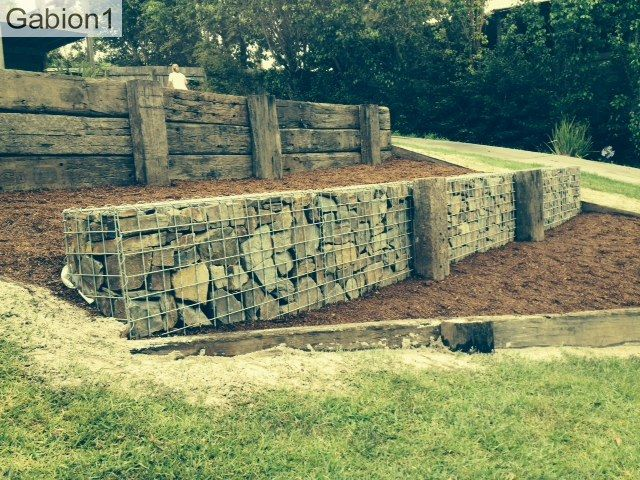 gabion and railway sleeper retaining wall http://www.gabion1.com