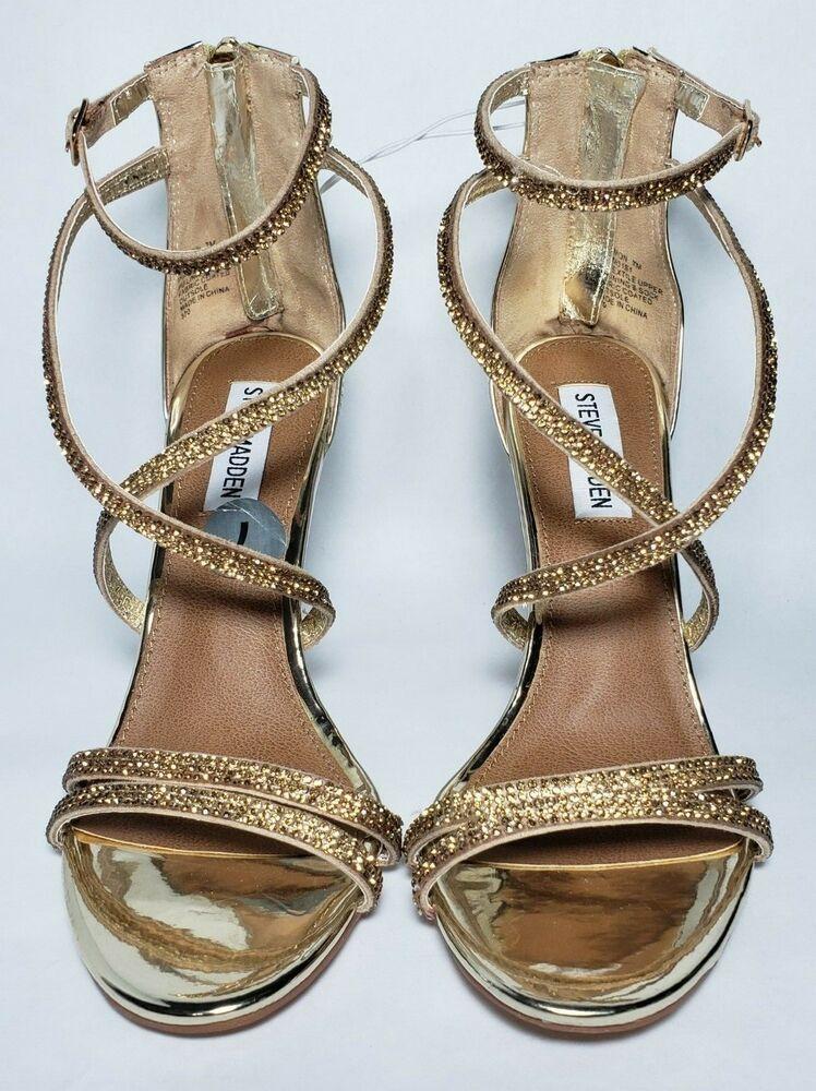 c8e2d12fccd Steve Madden Womens Size 8.5 Harmon Gold Metallic Rhinestone Sandals ...