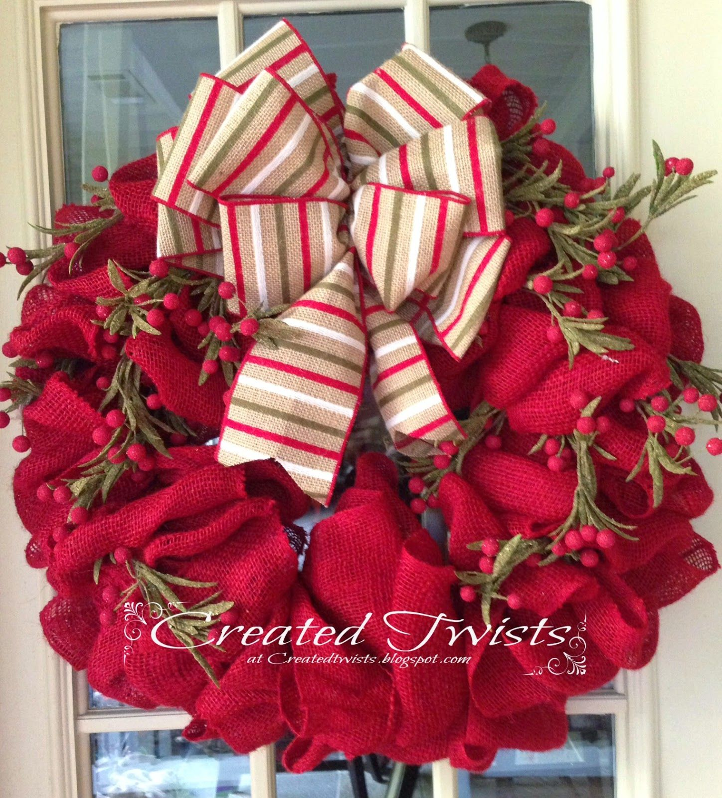 Red Burlap Christmas Wreath with Striped Ribbon and Twigs