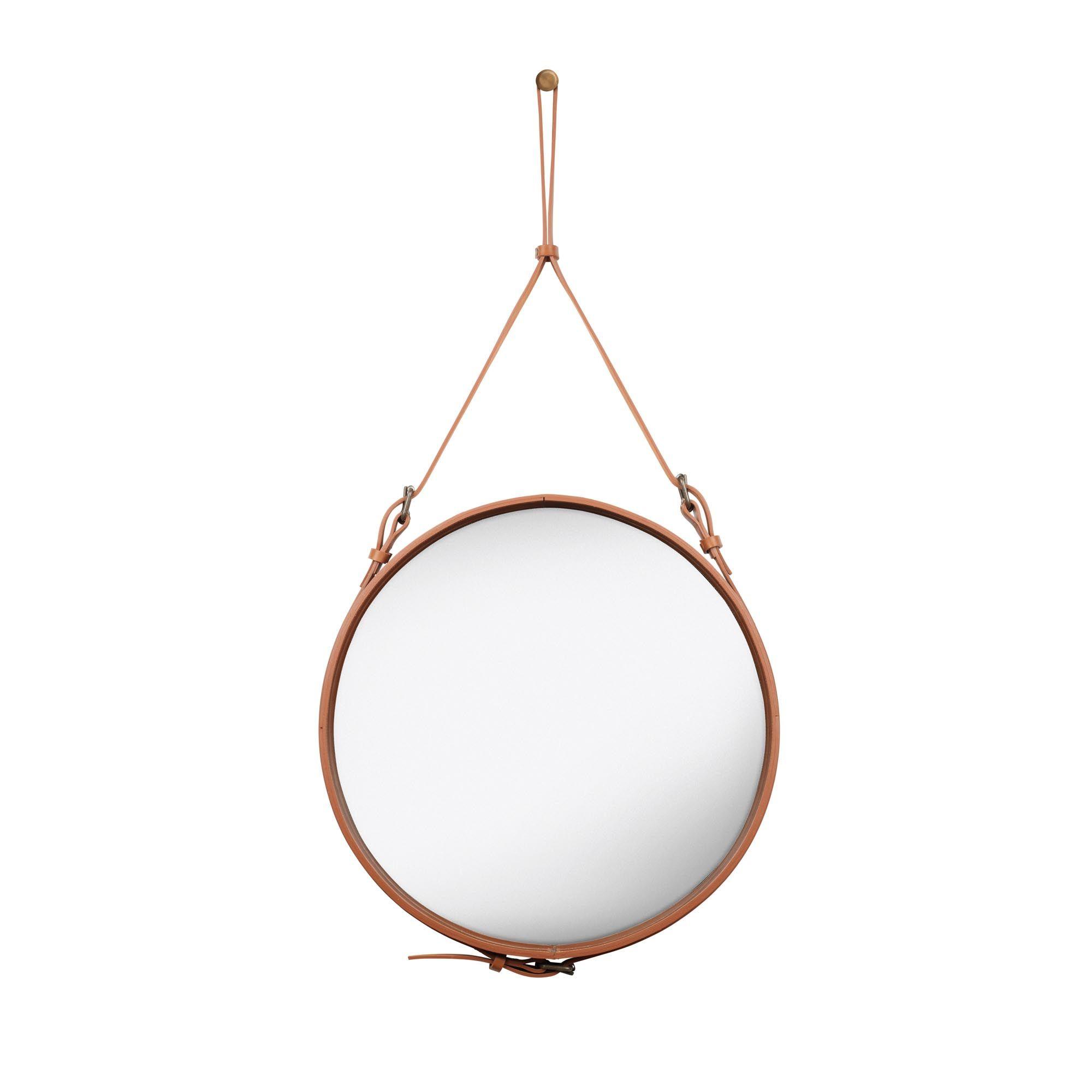 Gubi Wandspiegel Rund Adnet Glas Leder Braun Mit Bildern