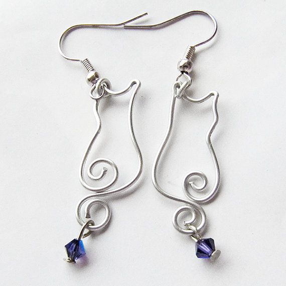 Wire Kitty Cat Earrings  Swarovski Crystal  by Fantasidea on Etsy, $12.00