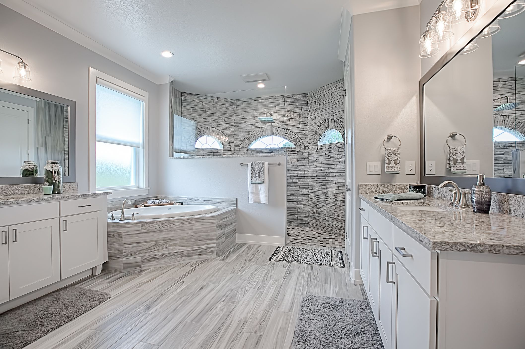 Beautiful Master Bathroom With Huge Open Shower Custom Home
