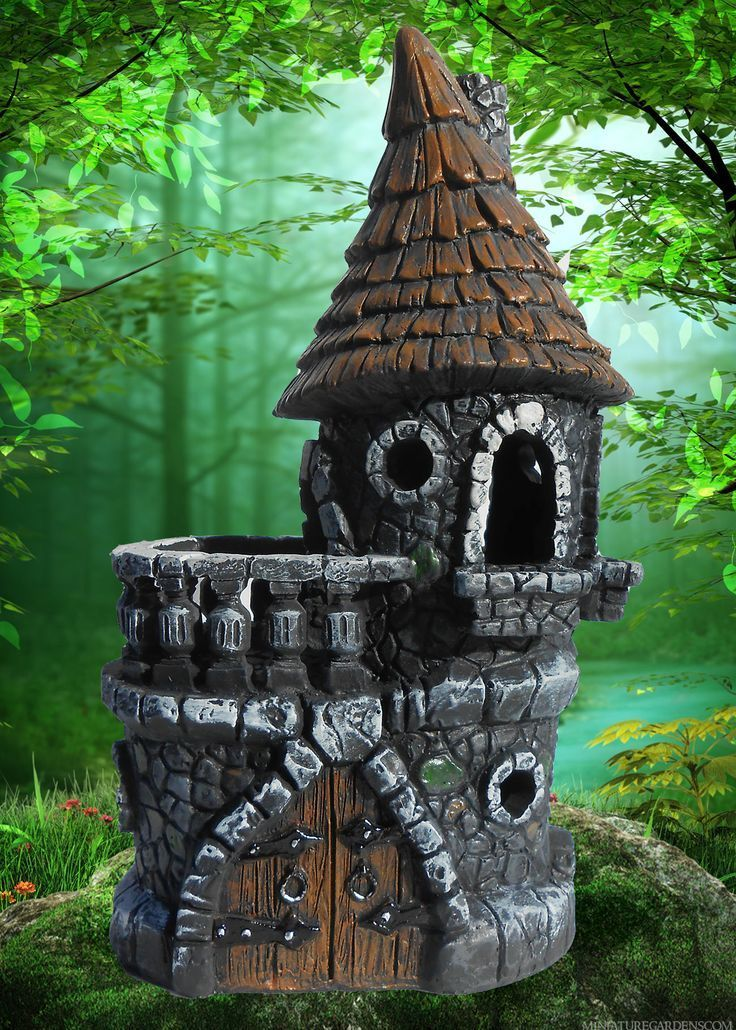 Miniature Garden Castle House W Brown Roof And Moat For Fairy Gnome Garden
