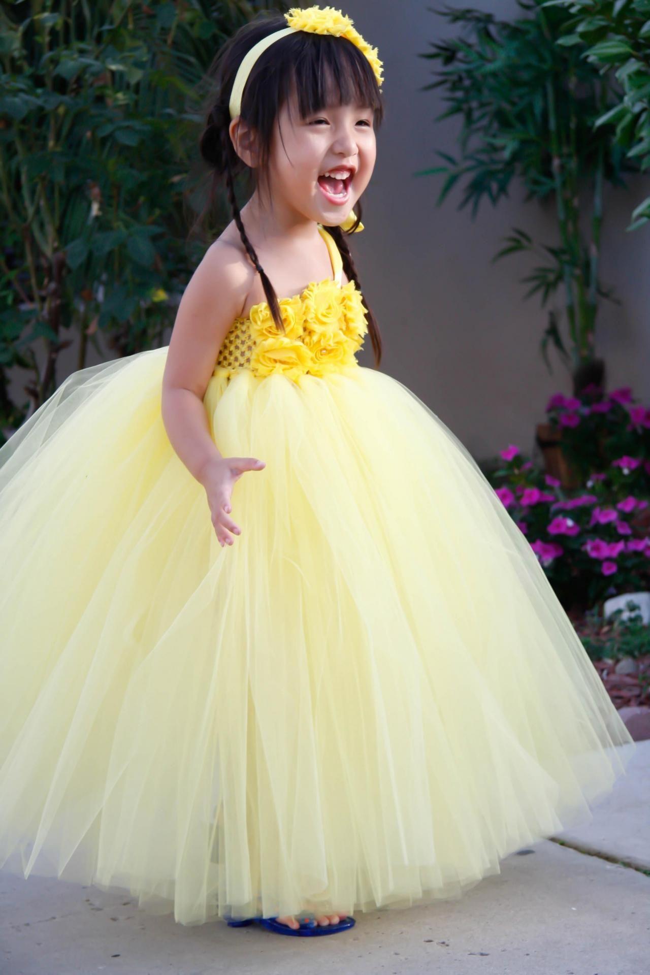 Rustic wedding flower girl dresses   Flower girl dress Yellow with Yellow Shabby Flowers TuTu Dress