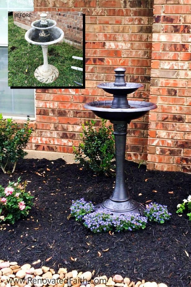 Bird Bath Makeover Simple Front Yard Landscaping Ideas On A Budget For The Beginner Here Are Step By Step Instructions On How To Im