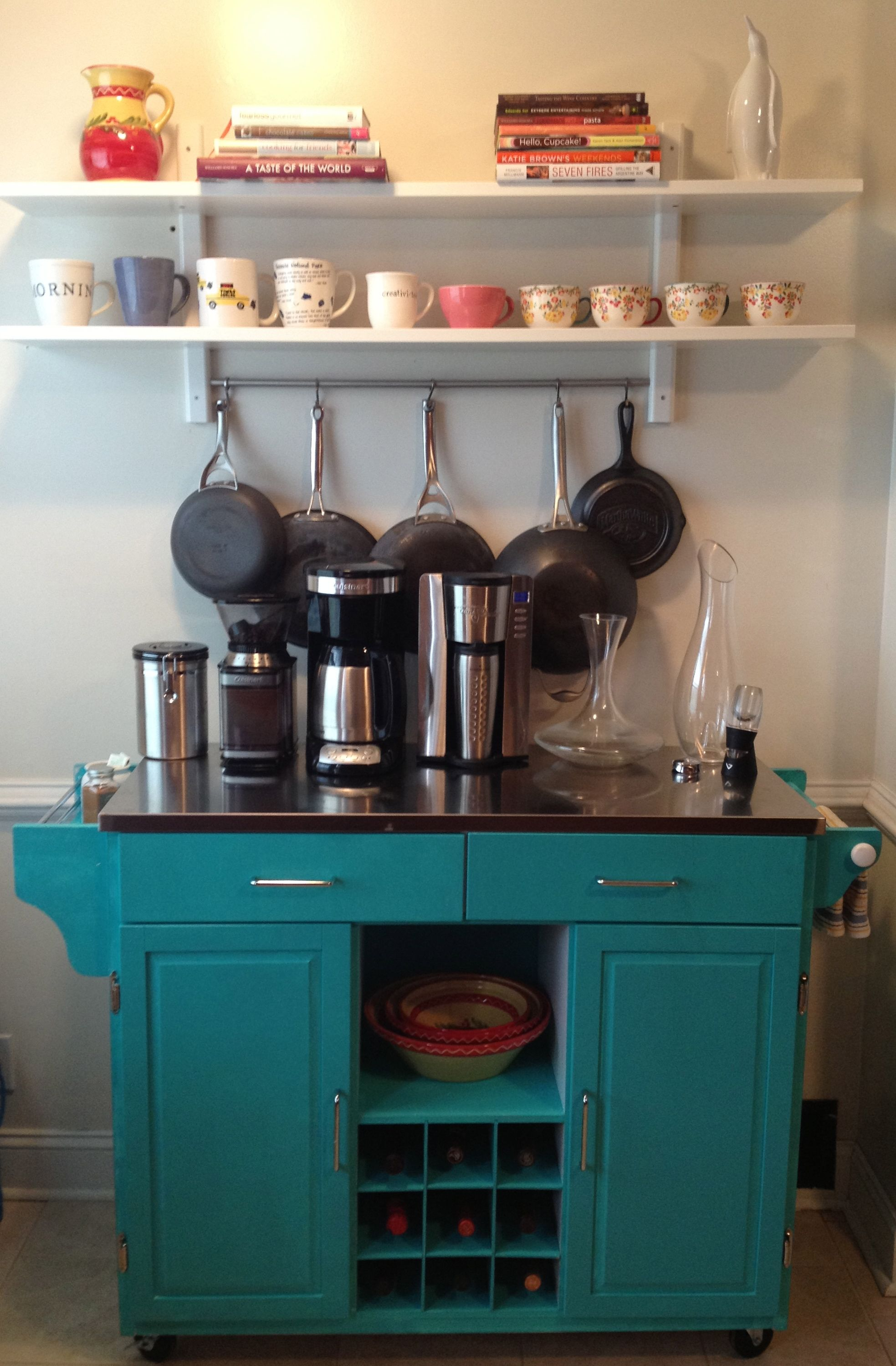 First diy project my coffee wine bar spaces for Kitchen coffee bar ideas