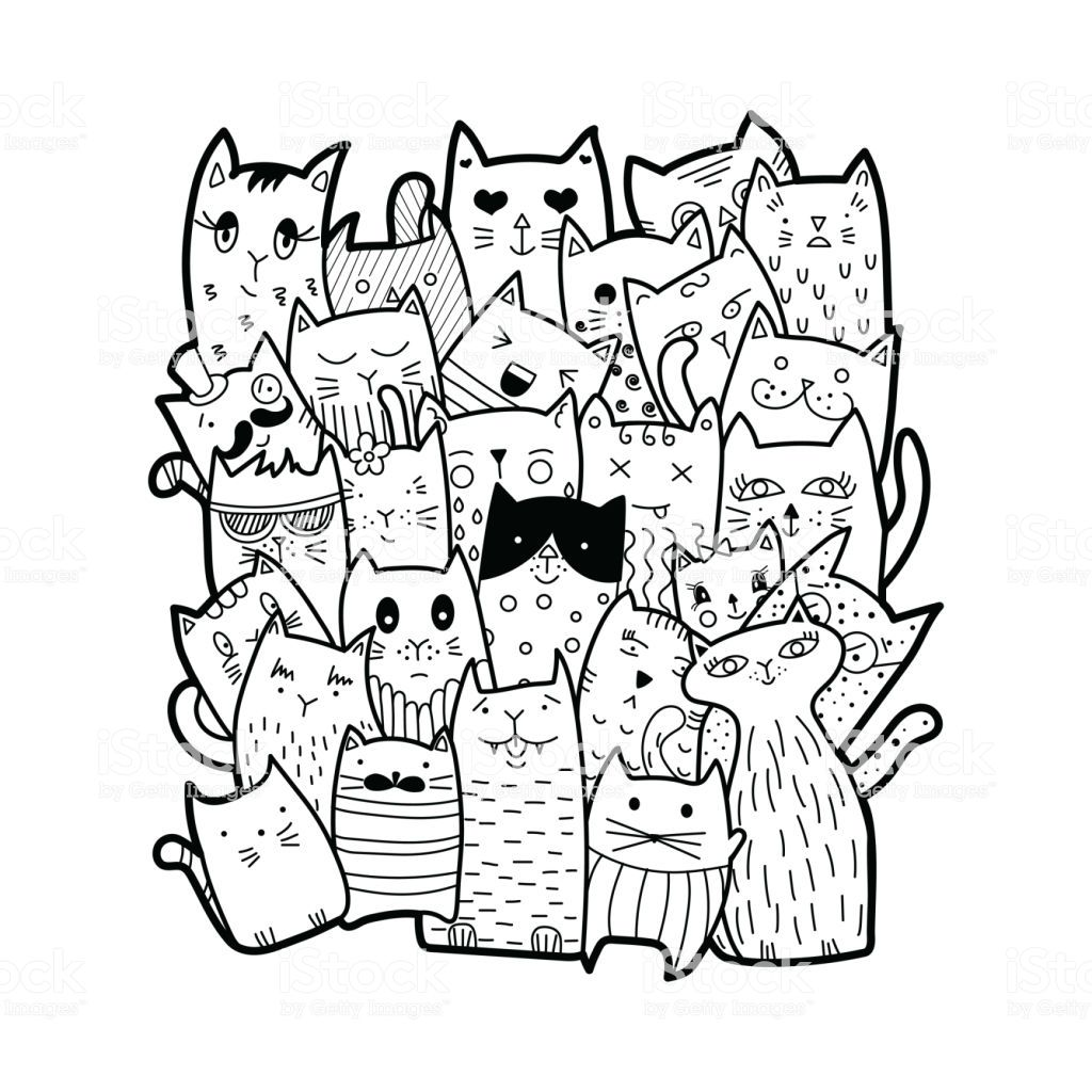 Cute Cats Doodle Style Can Be Used For School Books And Drawing Cat Doodle Cute Doodle Art Doodle Art Drawing