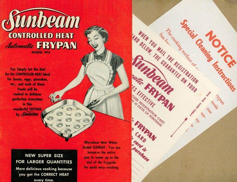 Vintage Cookbook 1950s SUNBEAM Automatic Frypan Recipe