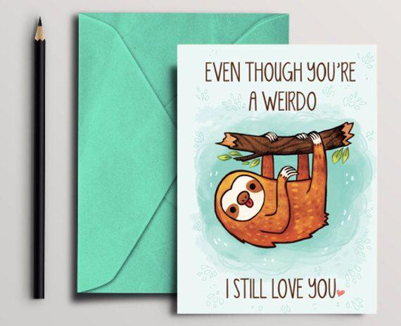 Funny Sloth Card Instant Download Digital Printable