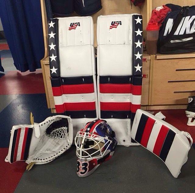 Alex Rigsby Team Usa Hockey Goalie Pads Hockey Goalie Equipment Goalie Pads