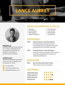 Canva Yellow Creative Director Photo Resume Mace Bcg9mm Modele Cv Cv Gratuit Modelisme