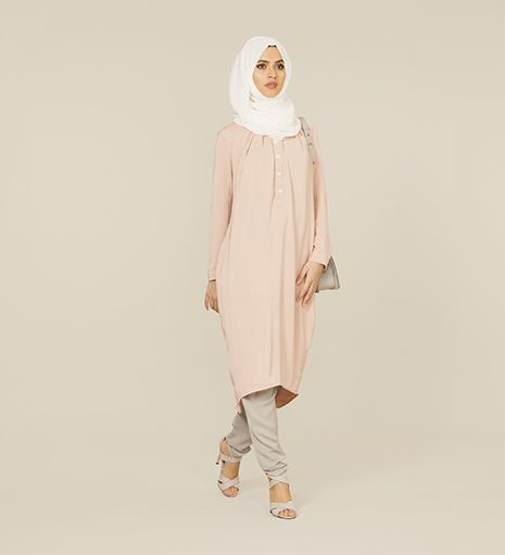 nude pink long tunic dress - outlet | hijab-style | Pinterest ...