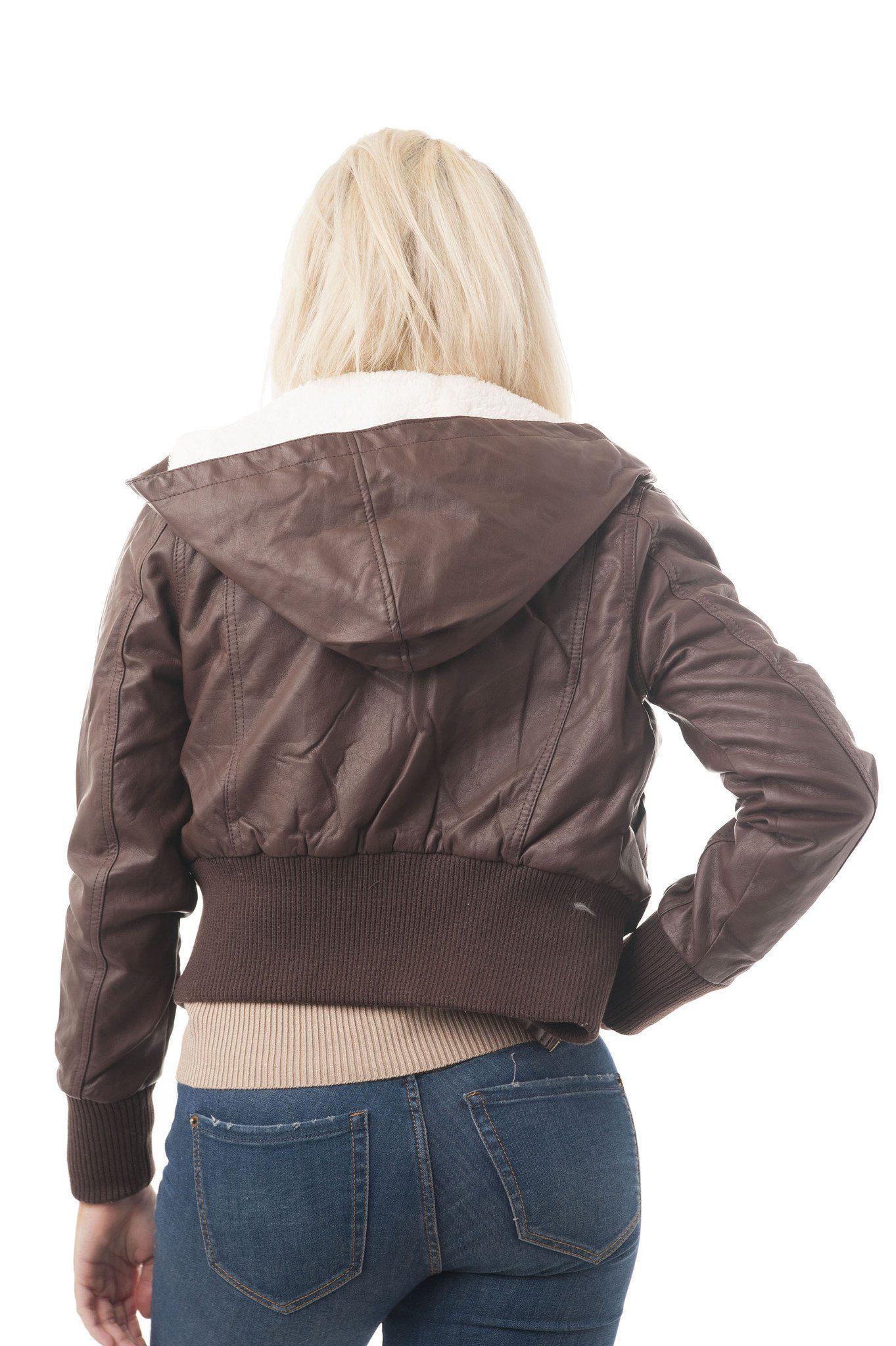 Detachable Hood Long Sleeve Fur Lining Faux Leather Jacket