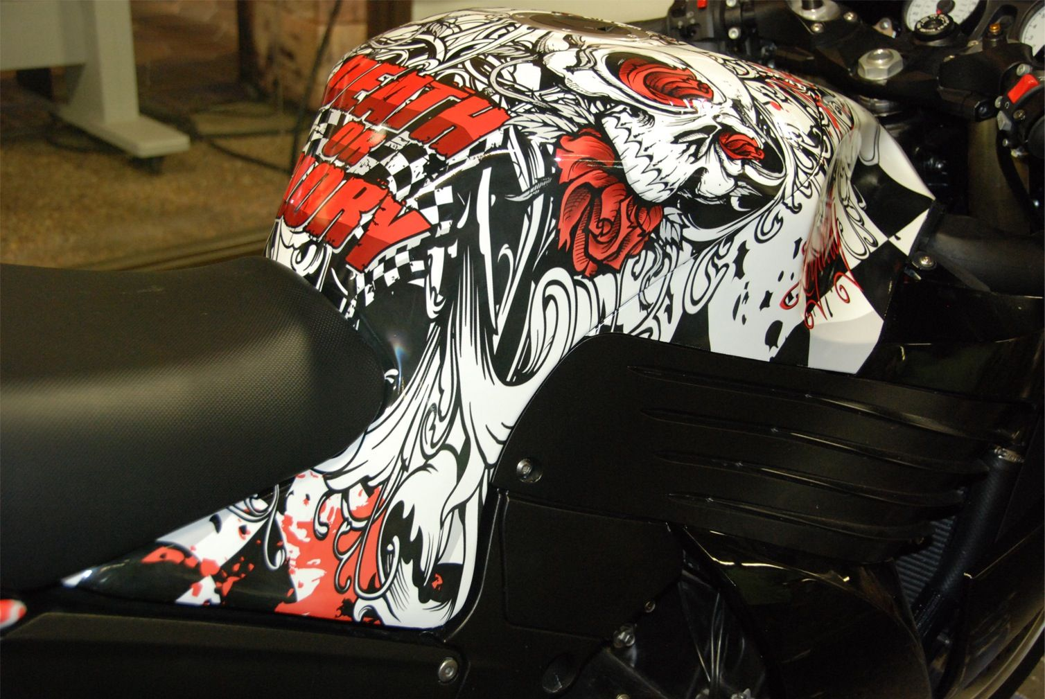 FELLERS Kawasaki ZX Wrapped With Custom Print On M Vinyl - Vinyl wrap for motorcycle helmets