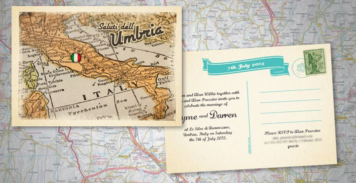 Vintage Italian Postcard Wedding Invitation  Invites I Designed