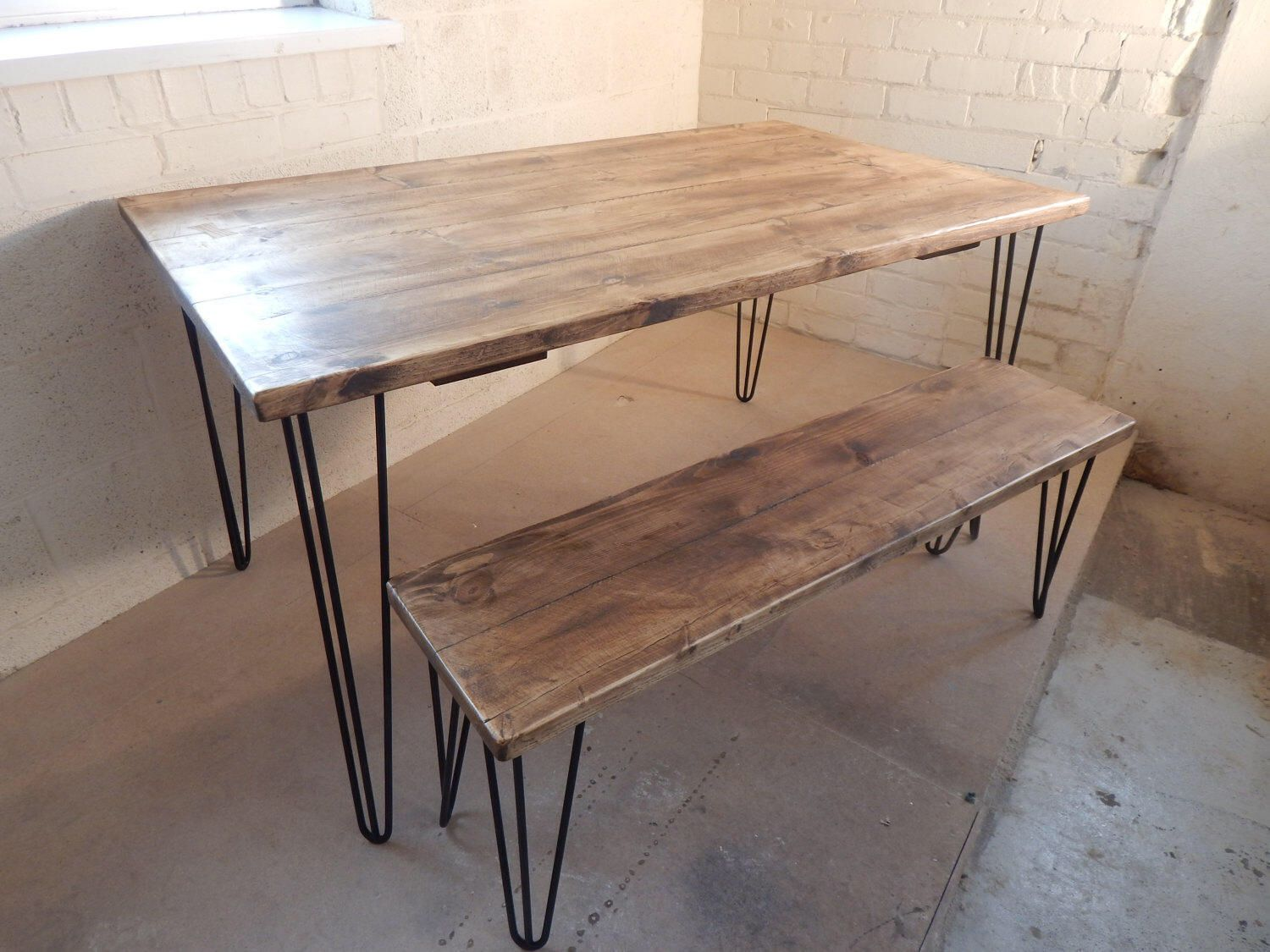 Industrial Rustic Dining Tables Plank Top With Matching Bench ...
