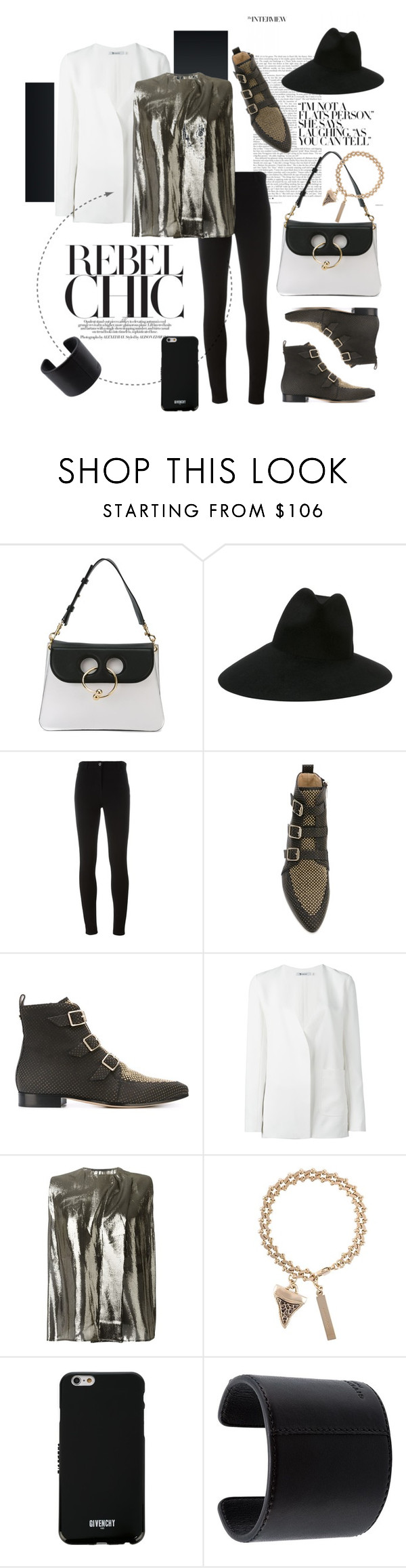 """Rebel Chic"" by tessabit ❤ liked on Polyvore featuring J.W. Anderson, Gucci, Givenchy, Jimmy Choo, T By Alexander Wang, Haider Ackermann, jimmychoo, gucci, tbyalexanderwang and jwanderson"
