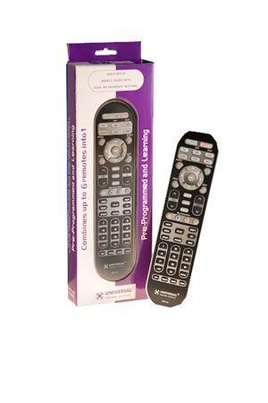 Universal Urc R6 Avex Pre-Programmed Learning Remote Control With Backlit Device Buttons by Universal. $24.34. The URC R6 AVEX pre-programmed and learning remote control sends IR (infrared) commands to all home theater A/V equipment and can replace up to 6 different remote controls.  With MacroPower, you can program the R6 to turn up to 6 components ON or OFF with the press of one button. The SimpleSound feature gives you total volume control over all the components in...