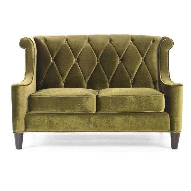 Generate A Comfortable Atmosphere In Your Home With This Modern Take On A  Retro Loveseat. This Green Velvet Fabric Loveseat Features A Button Tufteu2026