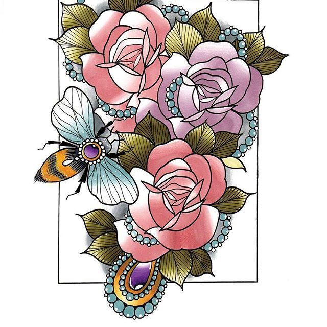Chameleon Outline Tattoo: Gorgeous Roses And Bee Tattoo Design Created By