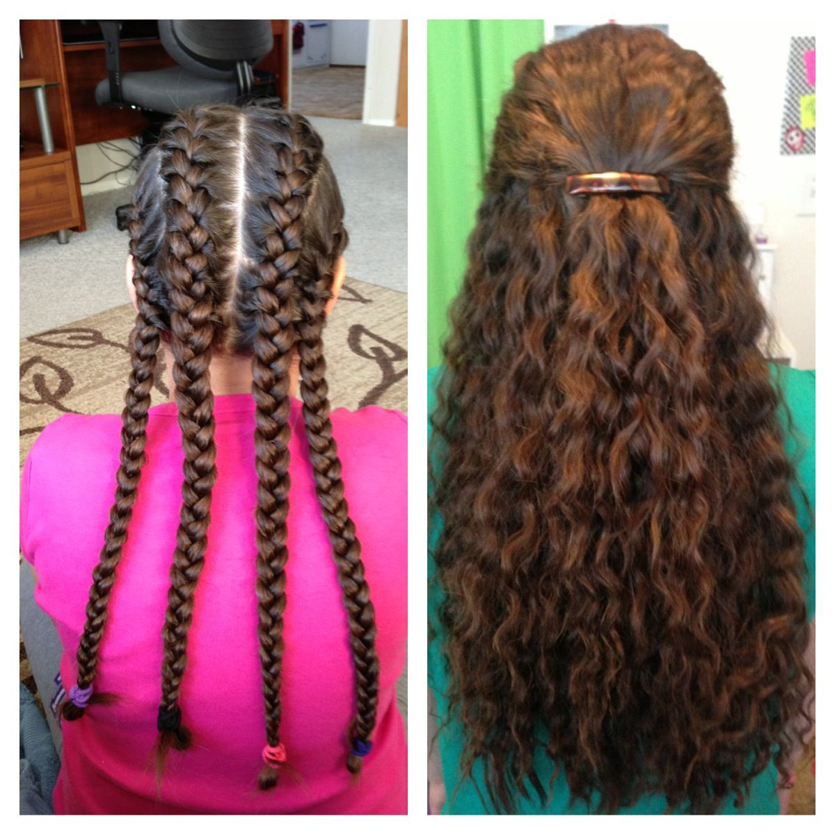 Four French Braids Left In Over Night Make For Beautiful Wavy Hair The Next Day Wavy Hair Diy Braided Hairstyles Hair Styles