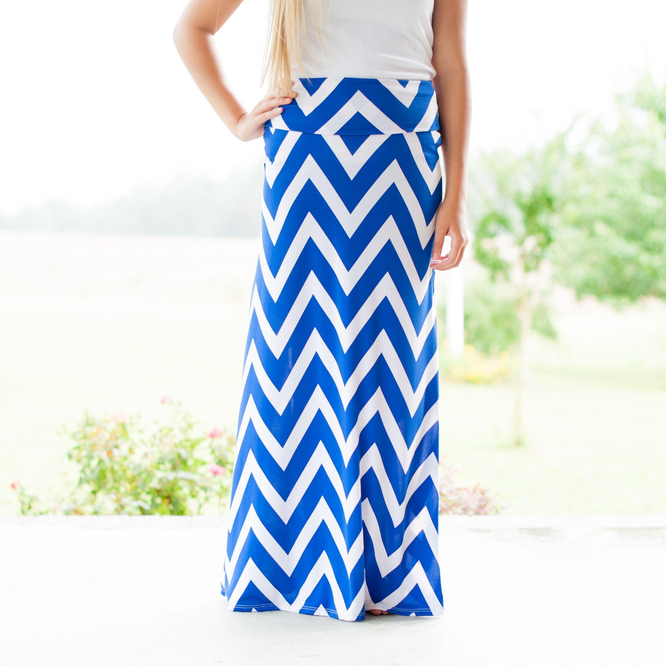 Chevron Print Jersey Maxi Skirt in Royal Blue | Maxi Skirts ...