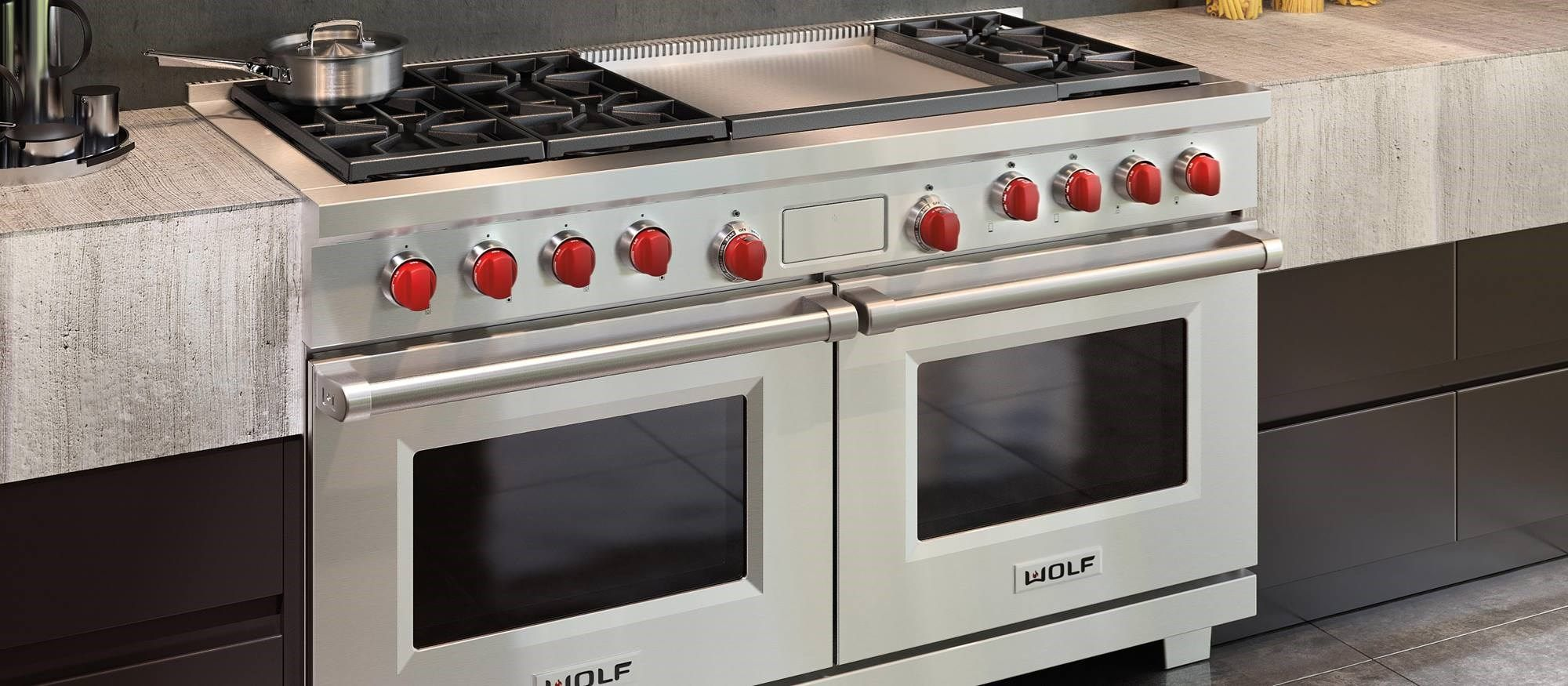Wolf 60 Dual Fuel Range 6 Burner Infrared Dual Griddle Dual Fuel Ranges Kitchen Style Pots And Pans