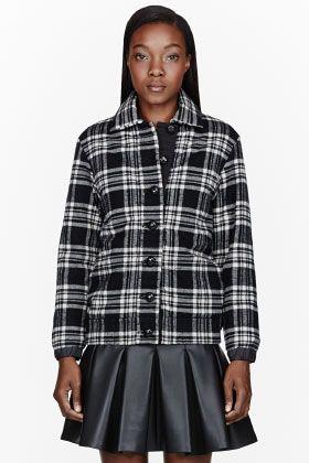 Sacai Luck Black Flannel Plaid Jacket for women   SSENSE
