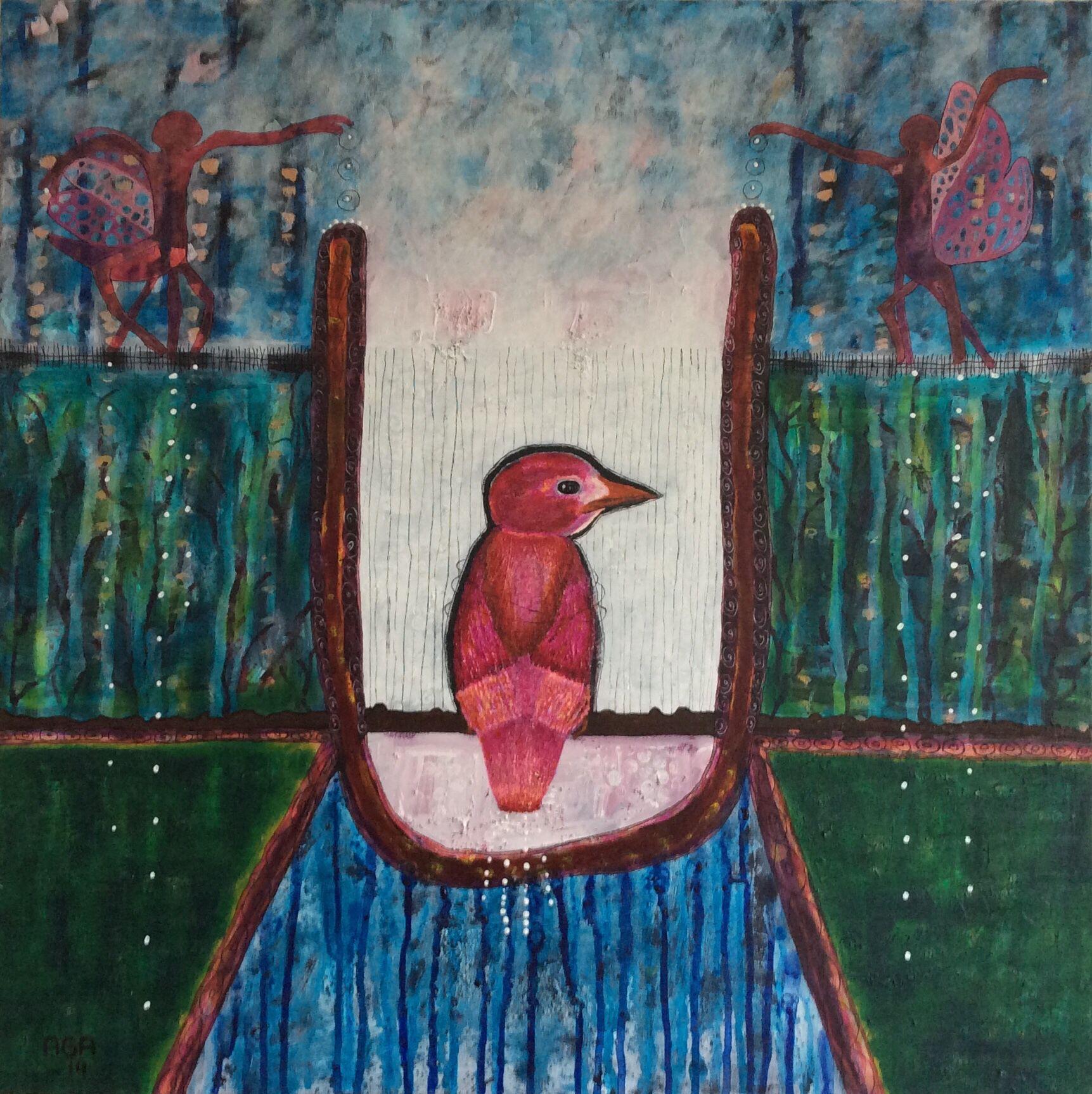 U - A caged Mind , 100 X 100 cm. Acrylics on canvas.