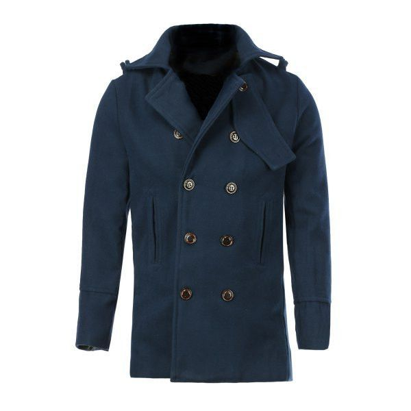 aaa9b80d4cf1 Double Breasted Turn-Down Collar Epaulet Long Sleeve Woolen Men u0027s  Peacoat