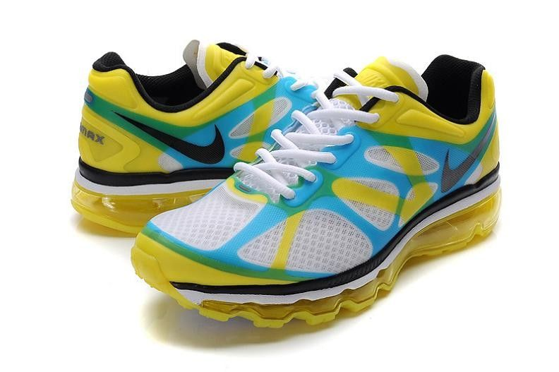 Nike Air Max 2012 Men's Running Shoe 487982 107 White/Lemon Yellow-Blue