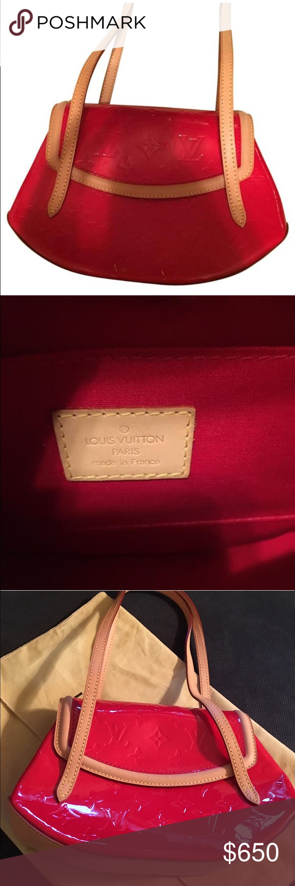 Authentic Louis Vuitton Biscayne bay PM handbag Gorgeous red authentic Louis Vuitton shoulder bag comes with dust bag excellent condition ❤️ Louis Vuitton Bags Shoulder Bags