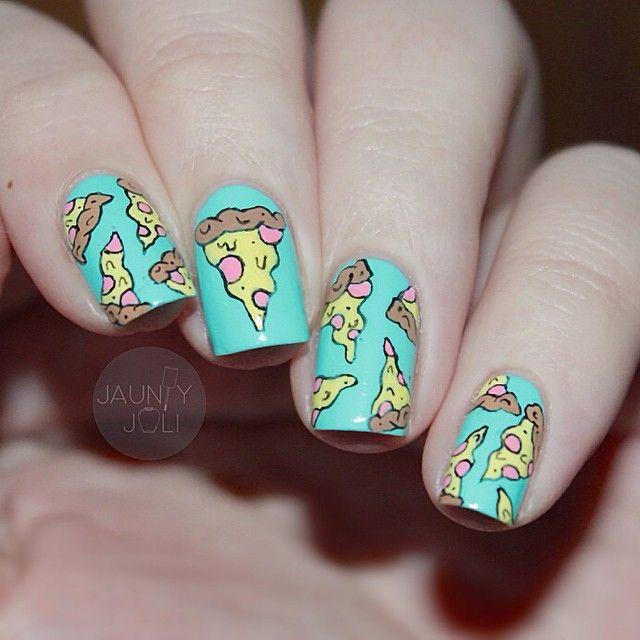 pizza nails paznokcie