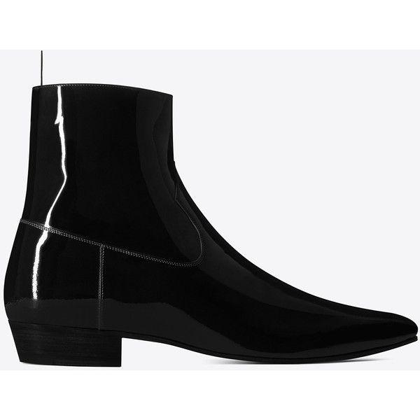 Saint Laurent Devon 30 Western Boot ($1,095) ❤ liked on Polyvore featuring men's fashion, men's shoes, men's boots, mens pointed toe boots, mens pointed toe shoes, yves saint laurent mens boots, yves saint laurent mens shoes and mens western shoes