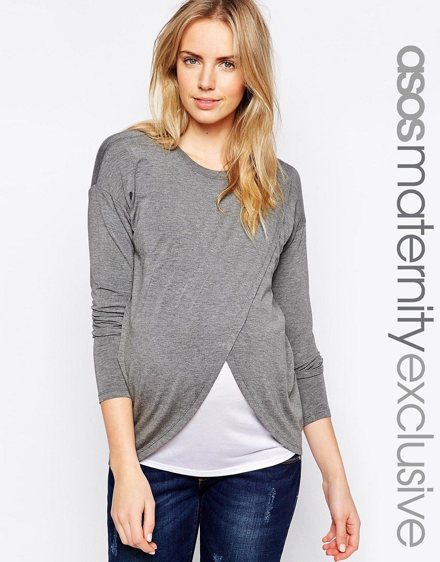 Image of asos maternity nursing top with wrap overlay and long