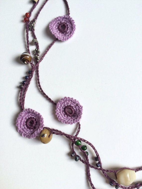 Purple shades chain beaded crochet necklace | Pinterest | Ganchillo ...