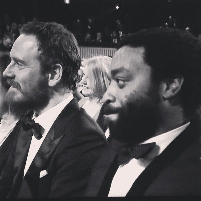 Michael Fassbender and Chiwetel Ejiofor at BAFTA 2014