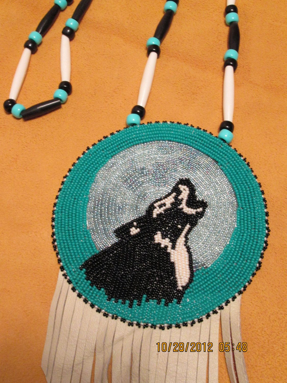Beaded Wolf Medallion Black and Pearl. $79.99, via Etsy.