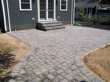 Patio In 6x9 Onyx/natural Border With 6x6 And 6x9 Modified Herringbone  Pattern. Stoop