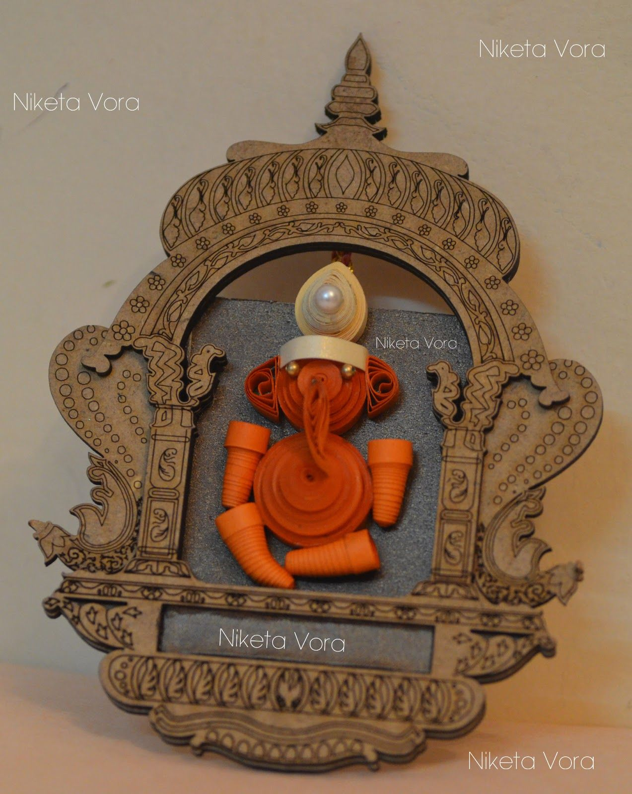Wooden Wall Hanging Paper Quilled - Wall Decor- Ganpati Material: Frame is  made from wood and the Ganpati is made from q uill.